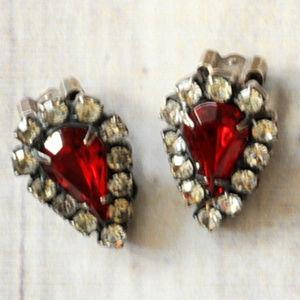vintage red rhinestone crystal teardrop earrings